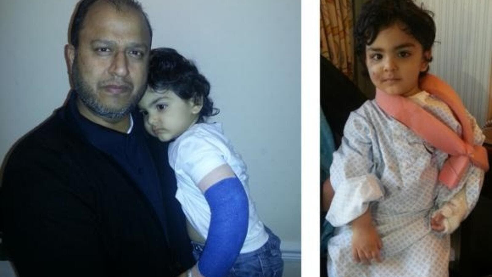 Eisa with his great uncle, Dr. Ebrahim Hayat, in Newport, South Wales, on Wednesday. (AN Photo)