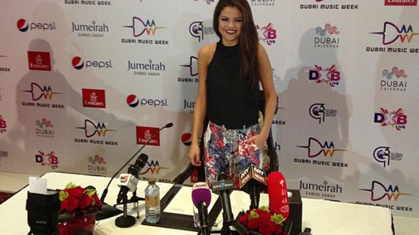 Selena Gomez chats it up, but not about Bieber, at a press conference in Dubai on Thursday. (Image: Facebook)