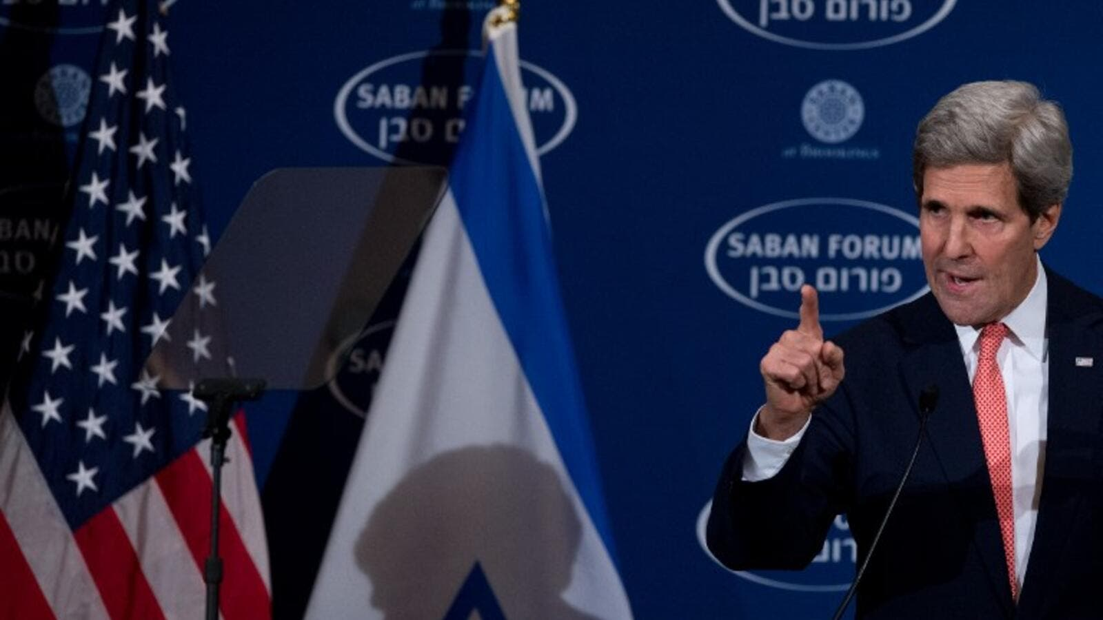 US Secretary of State John Kerry delivers the keynote address at the 10th Anniversary Saban Forum, Power Shifts: US-Israel Relations in a Dynamic Middle East, in Washington on December 7, 2013. (AFP)