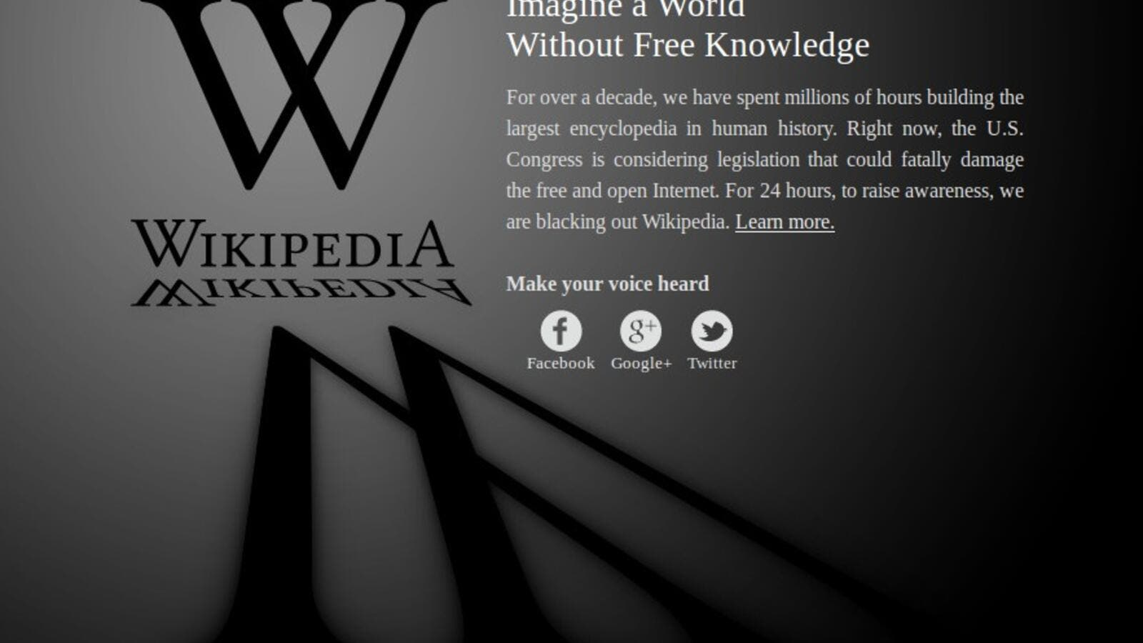 Wikipedia page during Blackout.
