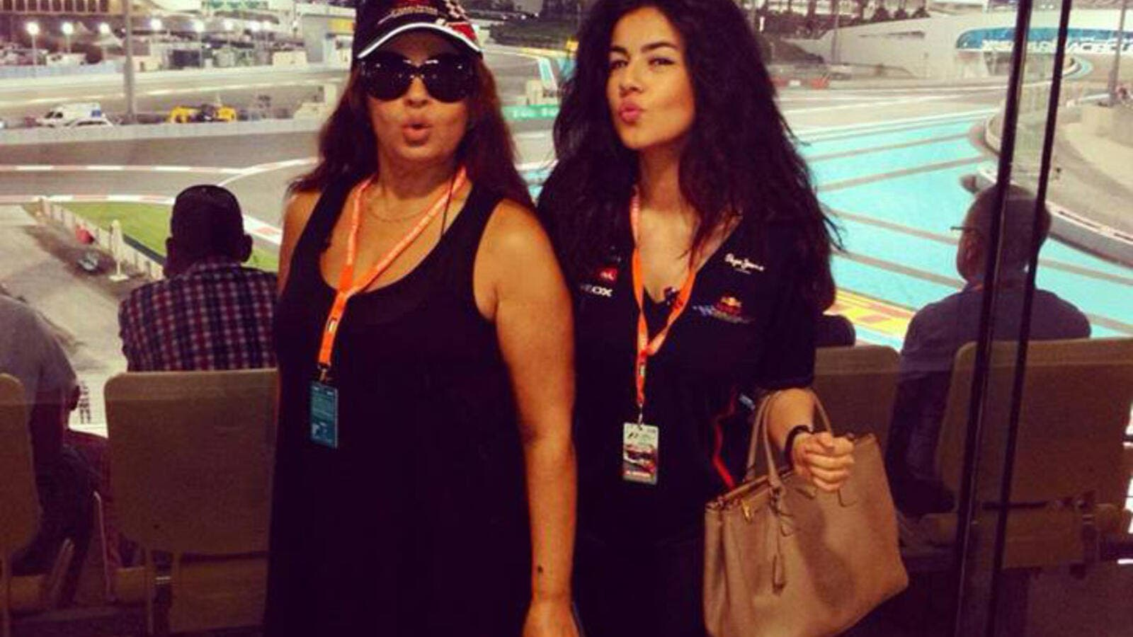 Fifi Abdo with her daughter Hanadi at the F1 race in Abu Dhabi. (Image: Facebook)
