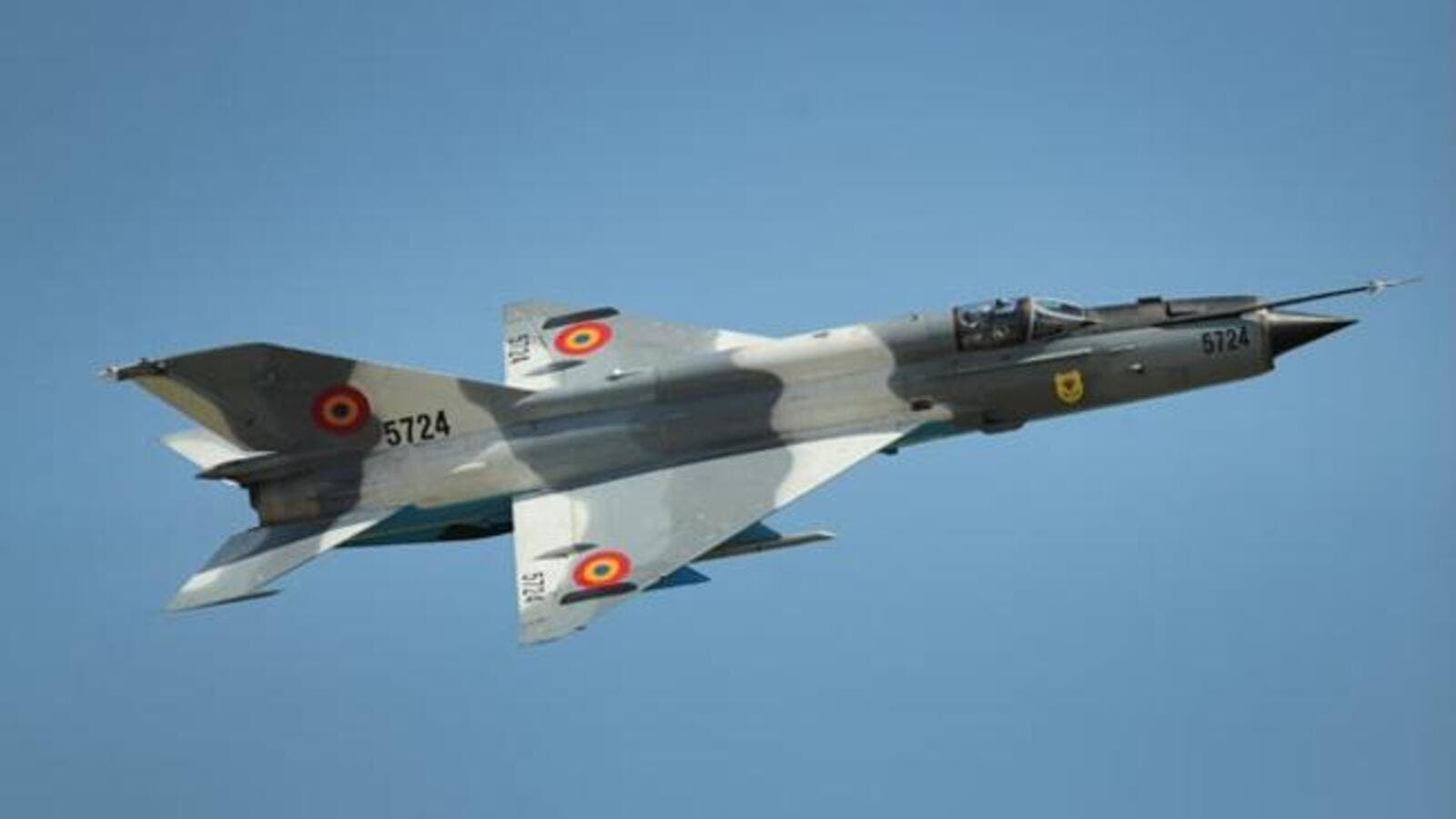 An MiG-21 jetfighter, the same model as the one flown into Jordan
