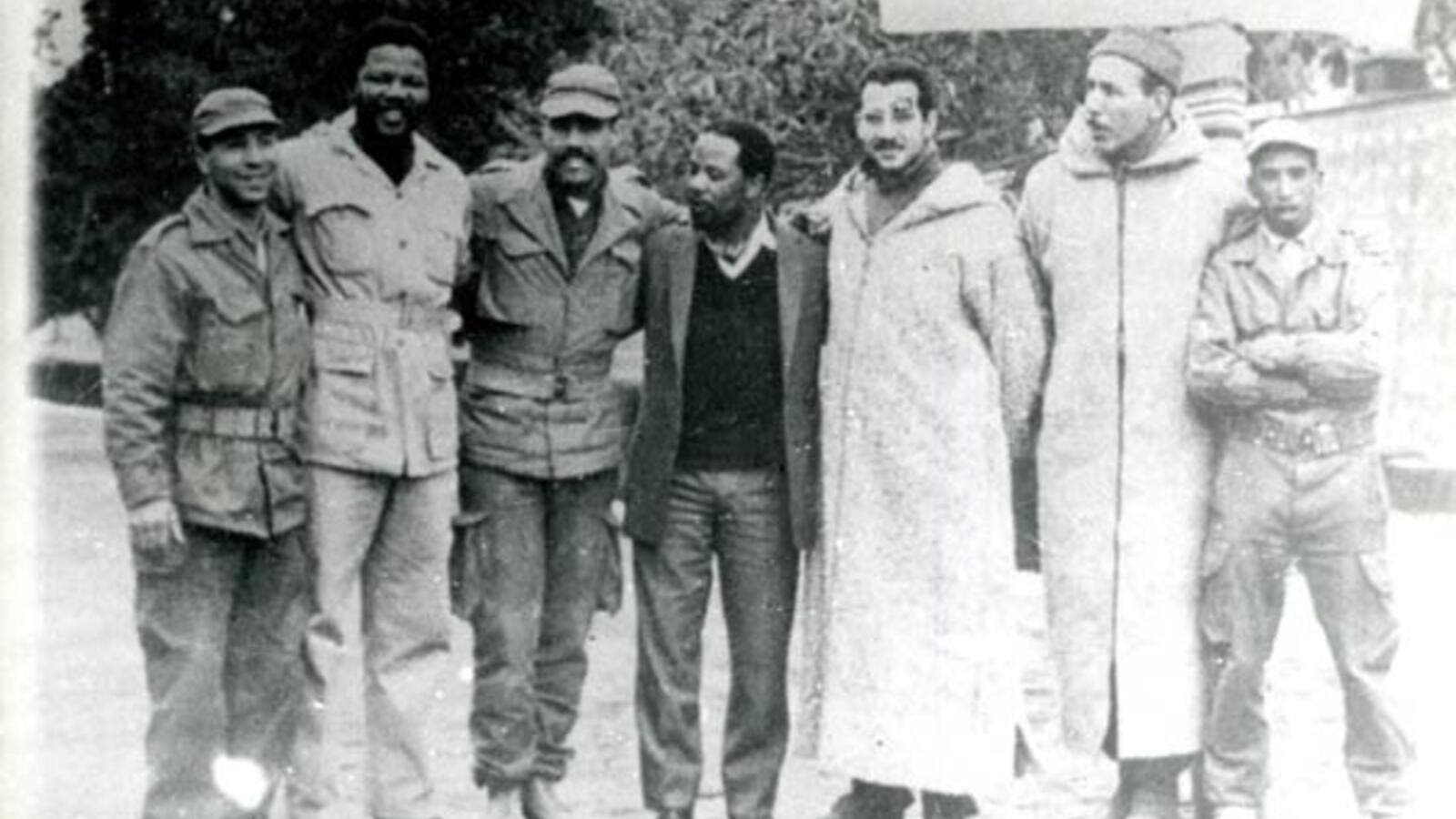 Mandela, pictured second from left, received his fist military training in Algeria with rebels from the National Liberation Front (Courtesy of Pretoria News Library)