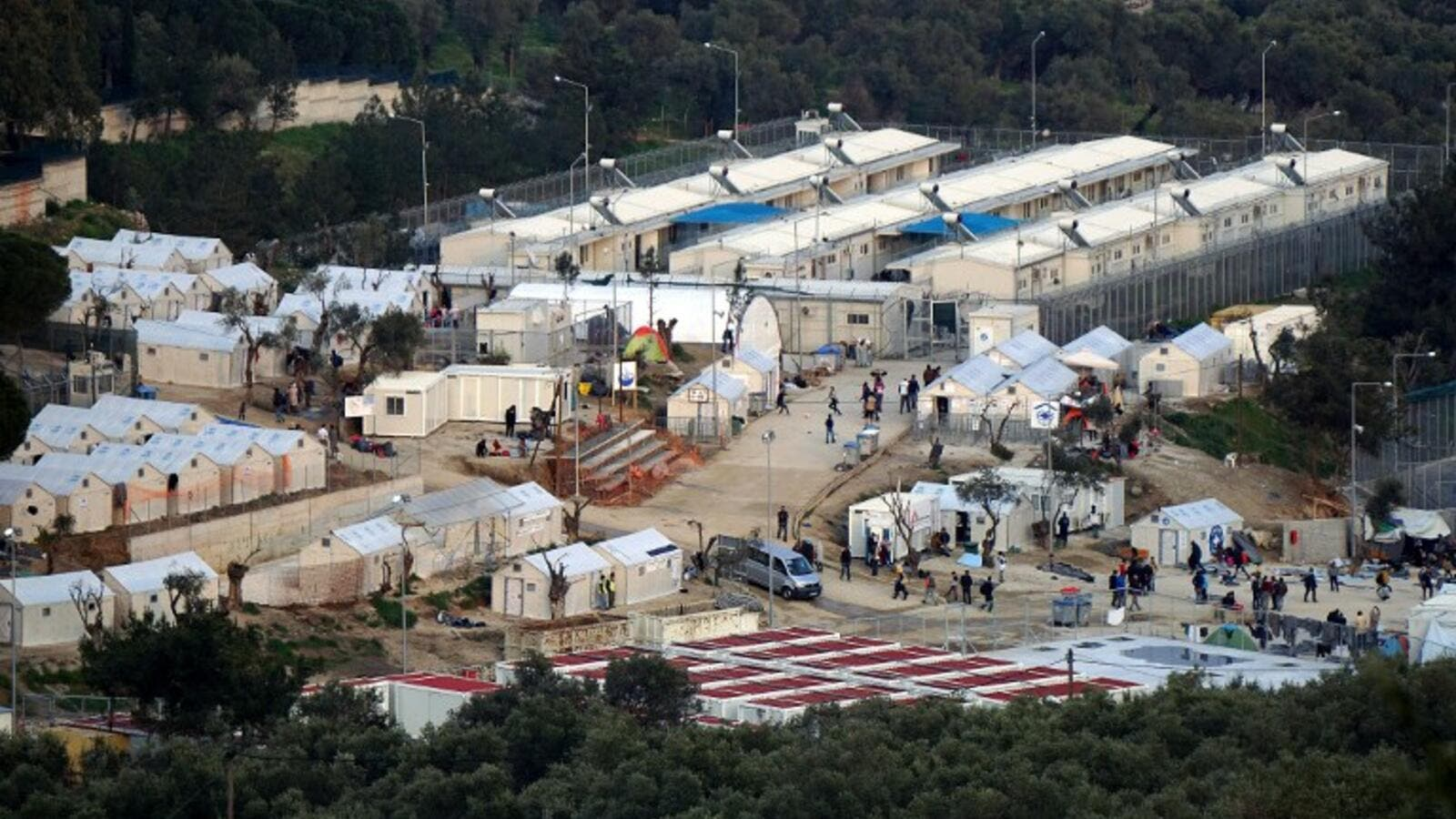 A picture shows a view of the Moria camp for migrants and refugees on the Greek island of Lesbos on March 20, 2016. (AFP/Stringer)