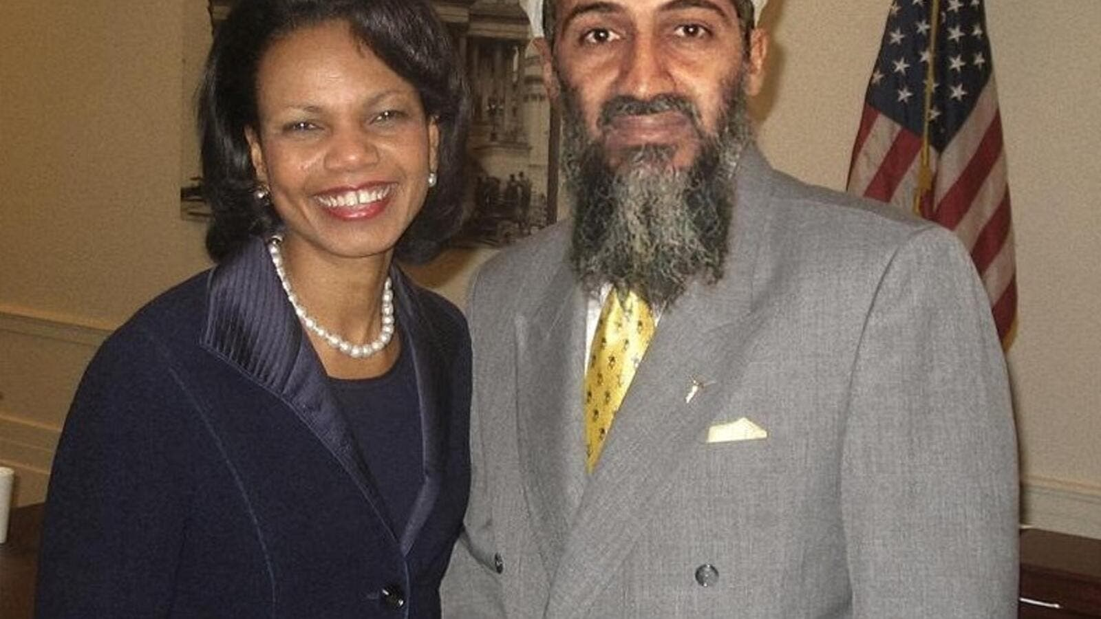 Former al-Qaeda leader Osama bin Laden and former US Secretary of State Condoleezza Rice. (FreakingNews.com)