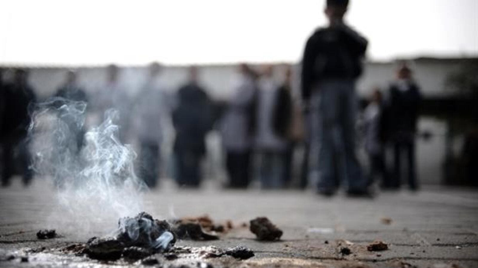 White phosphorus burning on the ground in a file photo. (AFP/File)