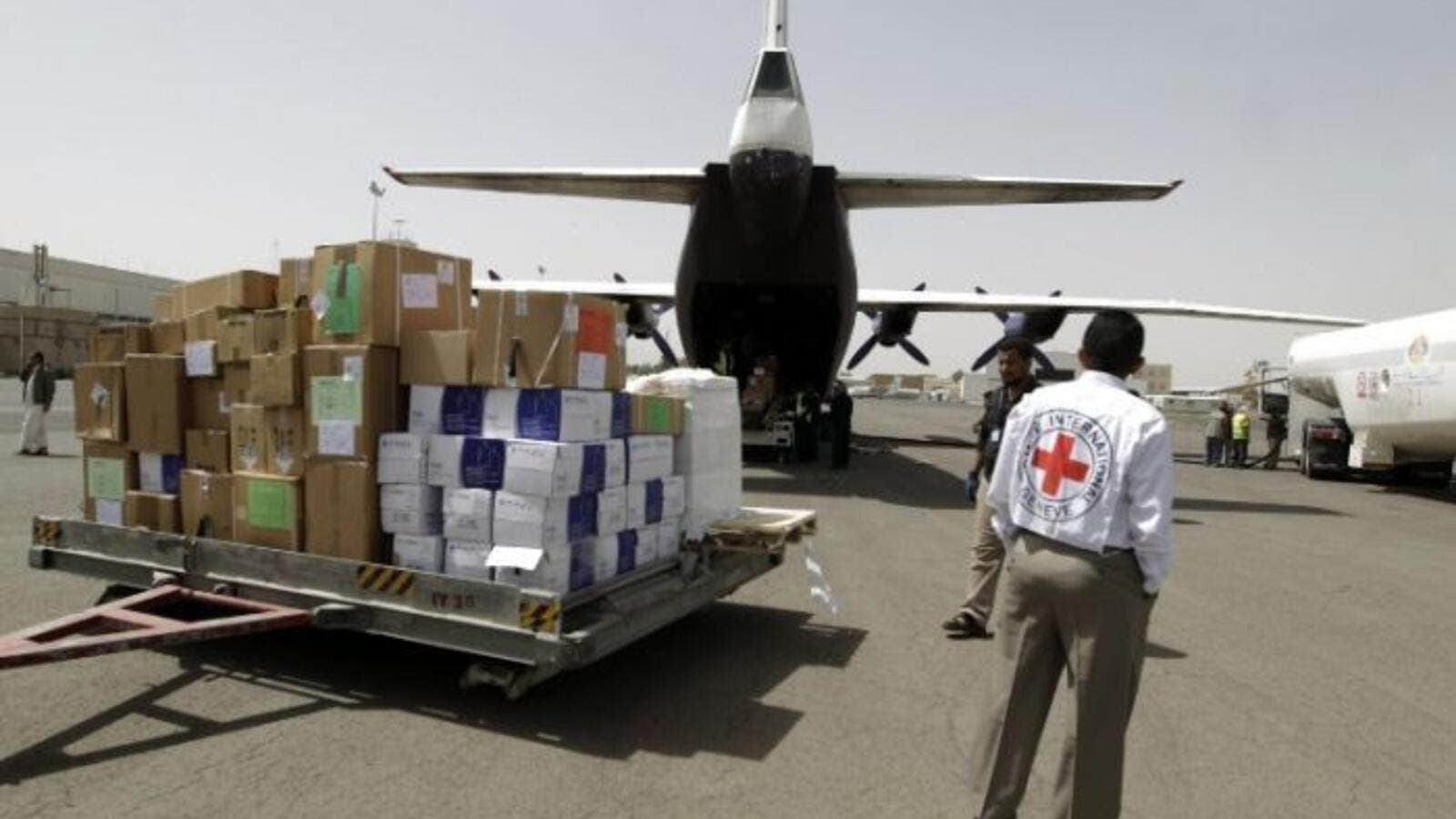 A Red Cross aid drop in Yemen. (AFP/File)