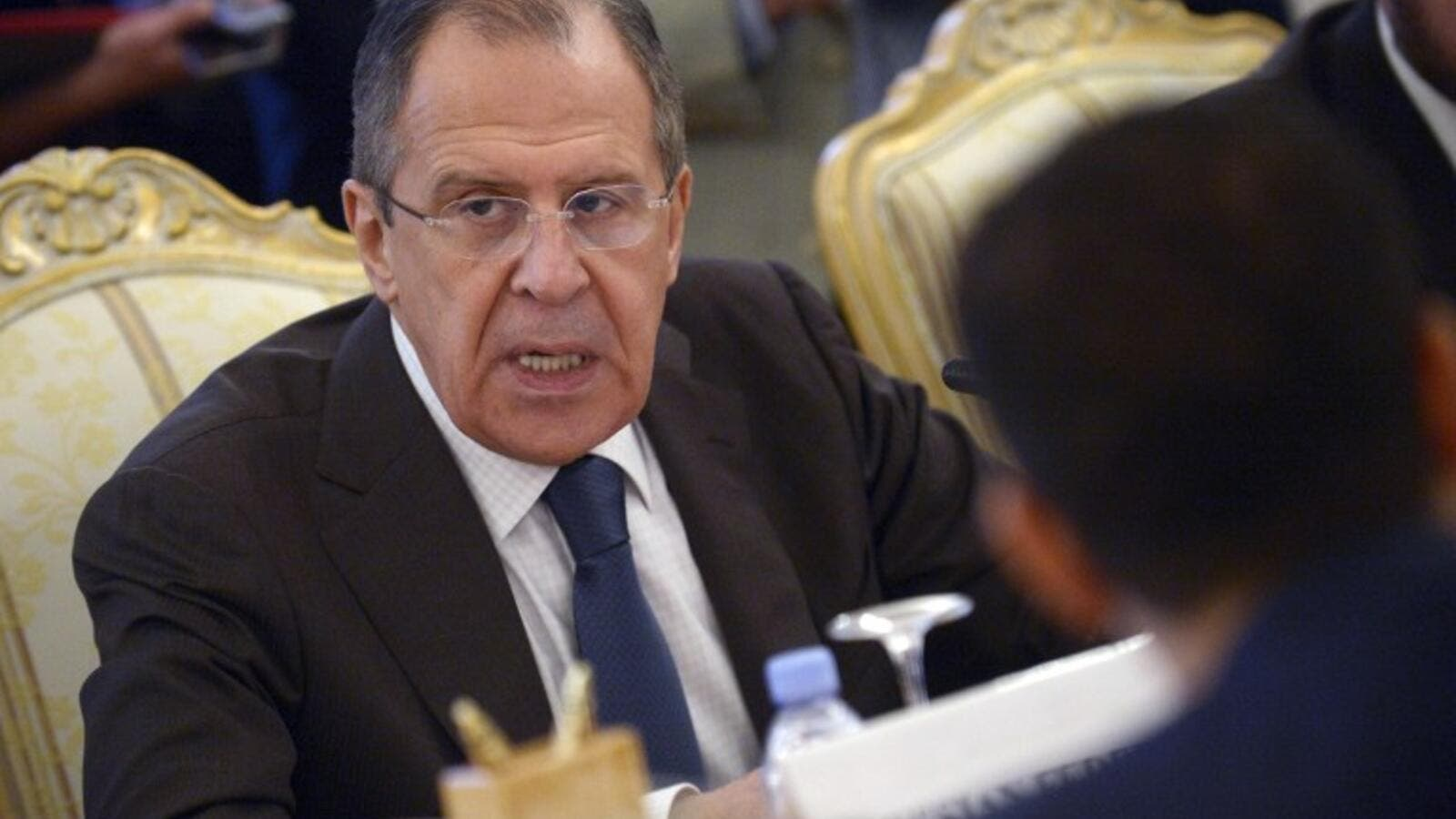 Russian Foreign Minister Sergei Lavrov speaks during the Arab League Forum in Moscow, on February 26, 2016. (AFP/Natalia Kolesnikova)