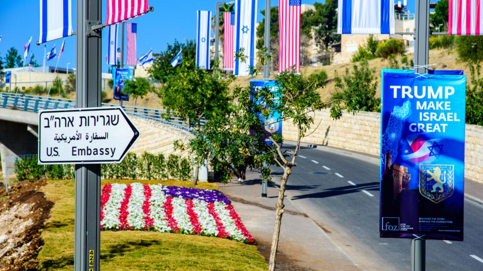 Street sign on a road towards a new US embassy in Jerusalem, adorned with American and Israeli flags (Shutterstock)