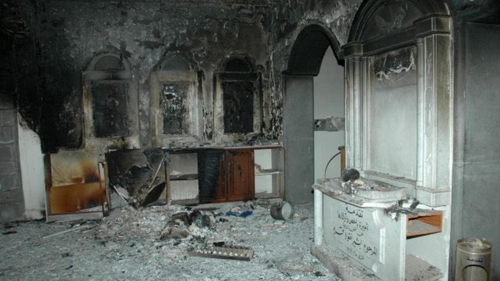 A picture taken on May 9, 2014 shows the damage inside Um al-Zinar church in the Christian Hamidiyah neighborhood of Syria's central city of Homs. (AFP/File)