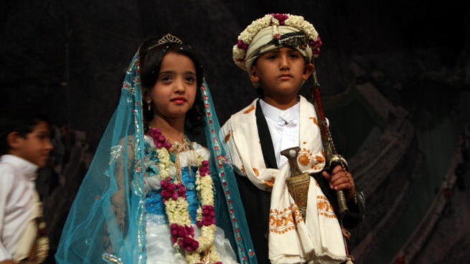 Yemeni children dressed in traditional wedding outfits (MOHAMMED HUWAIS/AFP/Getty Images)