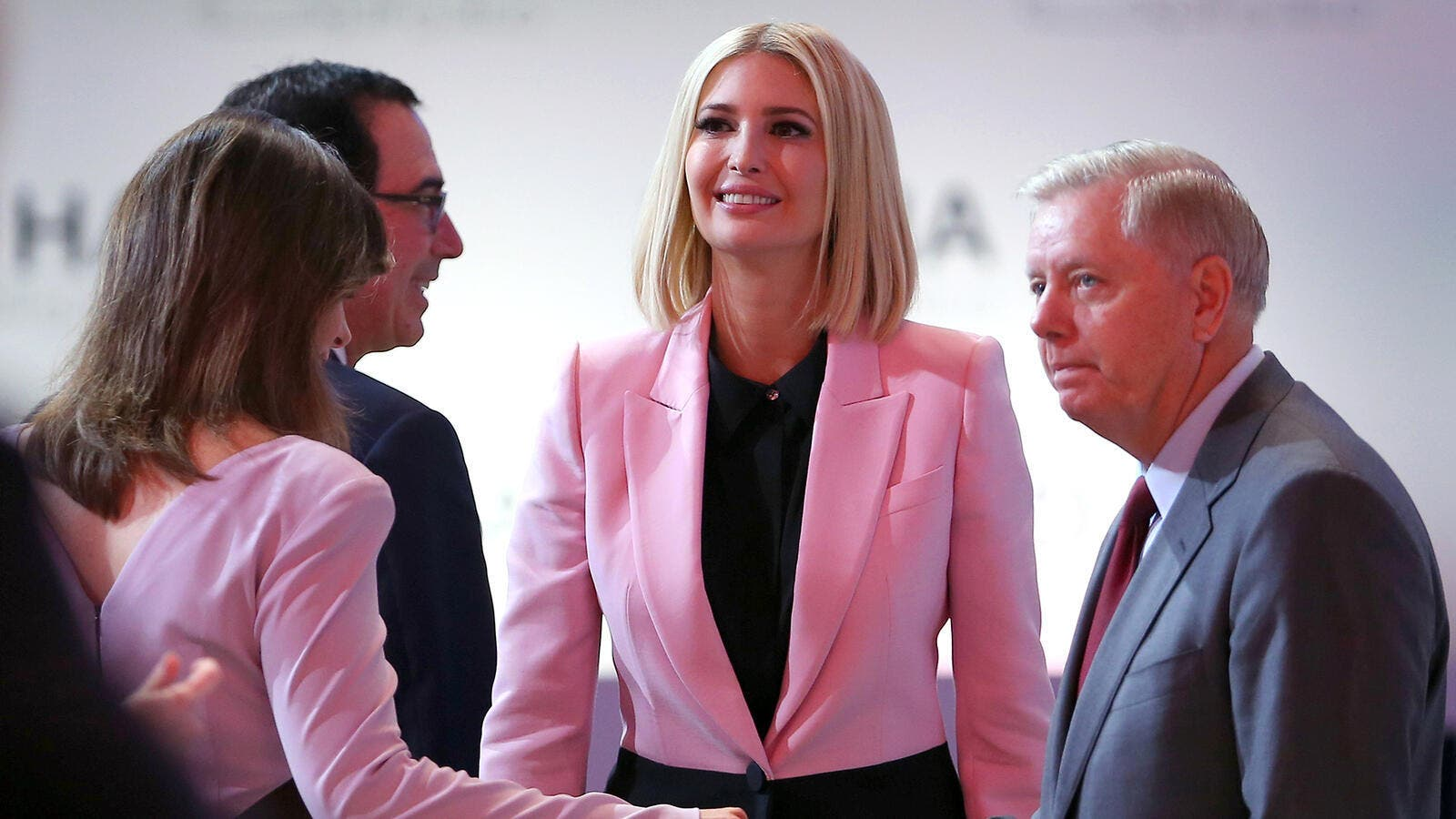 Ivanka Trump takes questions from her spokeswoman at Doha Forum (AFP)