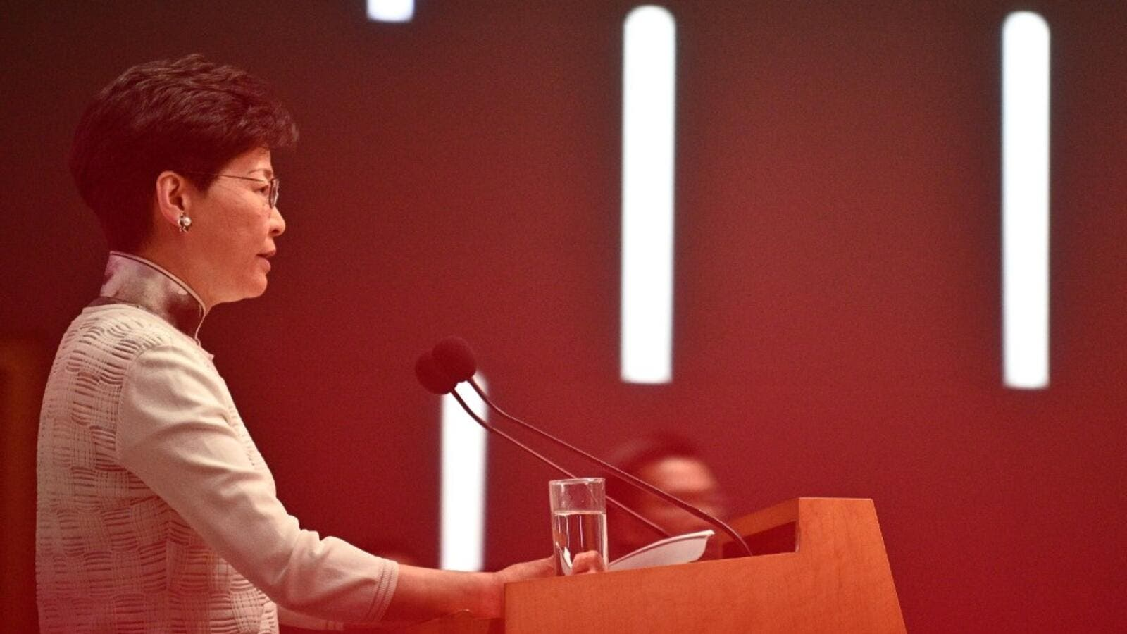 Hong Kong Chief Executive Carrie Lam speaks during a press conference at the government headquarters in Hong Kong on June 15, 2019.  Anthony WALLACE / AFP
