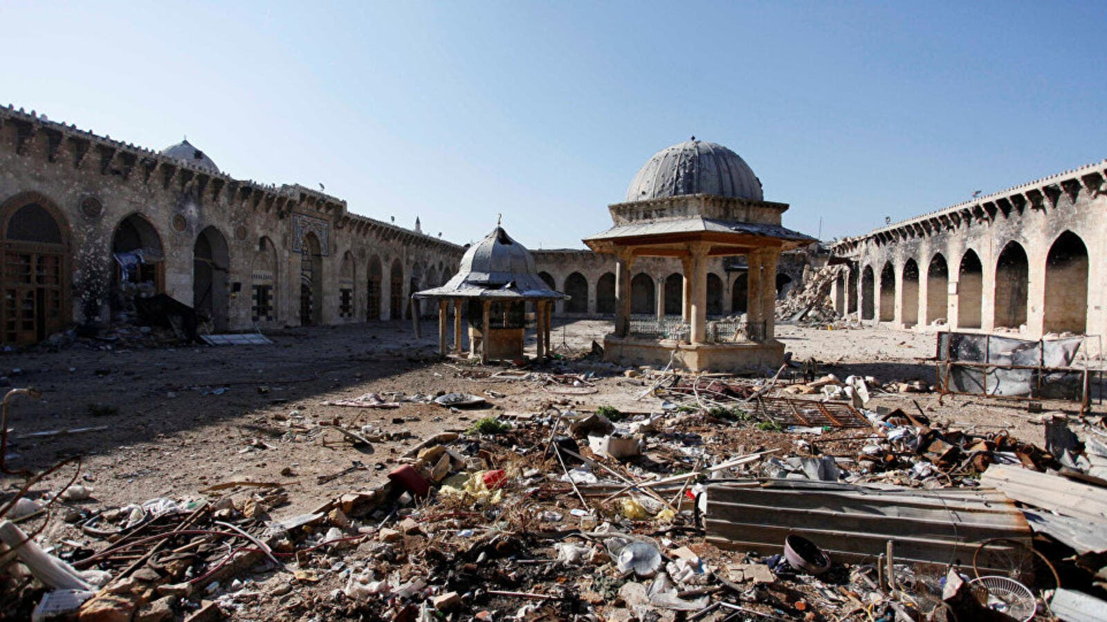 The Umayyad mosque of Old Aleppo in ruins in 2013. (AFP)