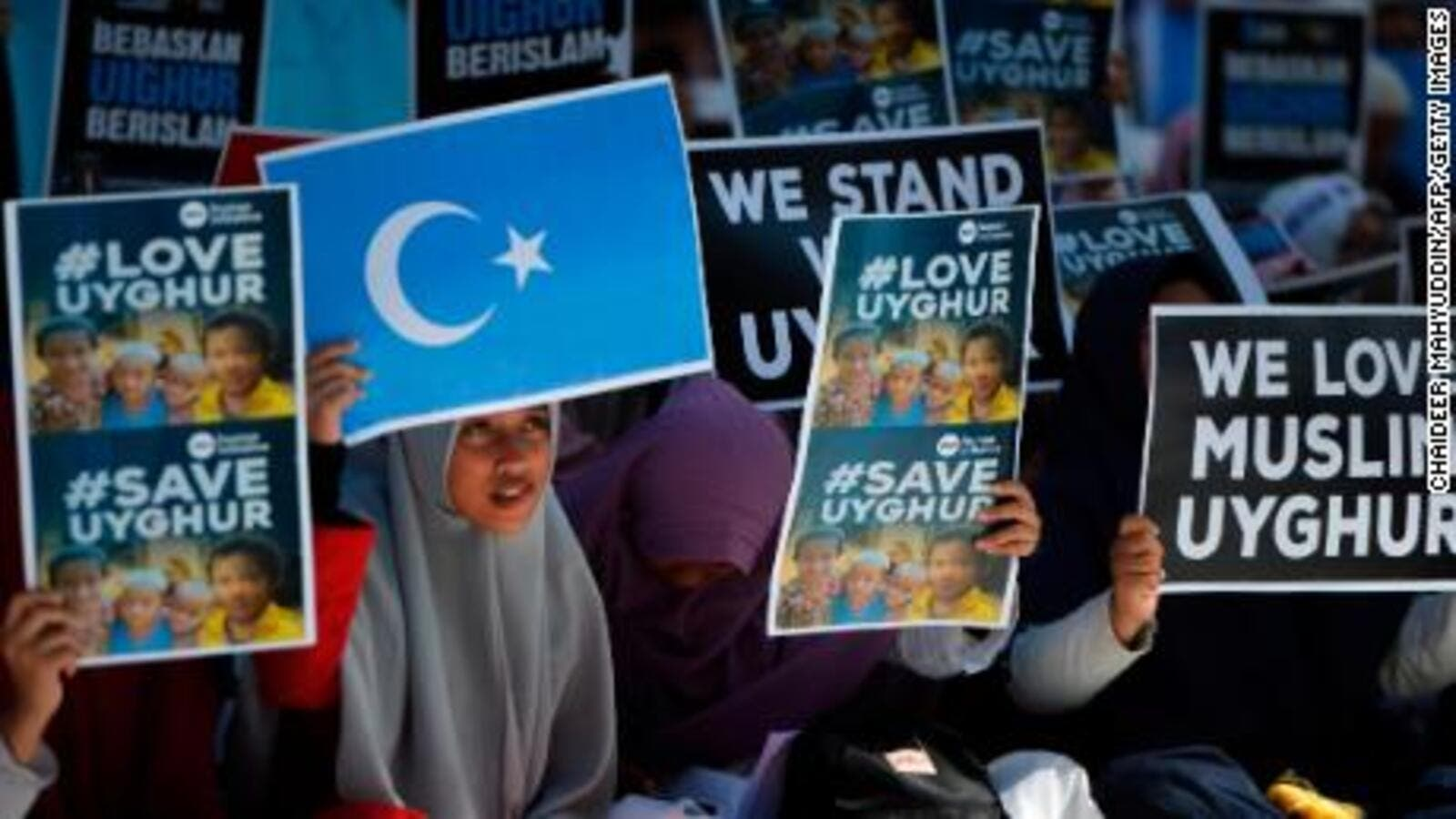 Indonesian Muslims demonstrate to denounce the Chinese goverment's policy on Uyghur Muslims. (AFP/File Photo)