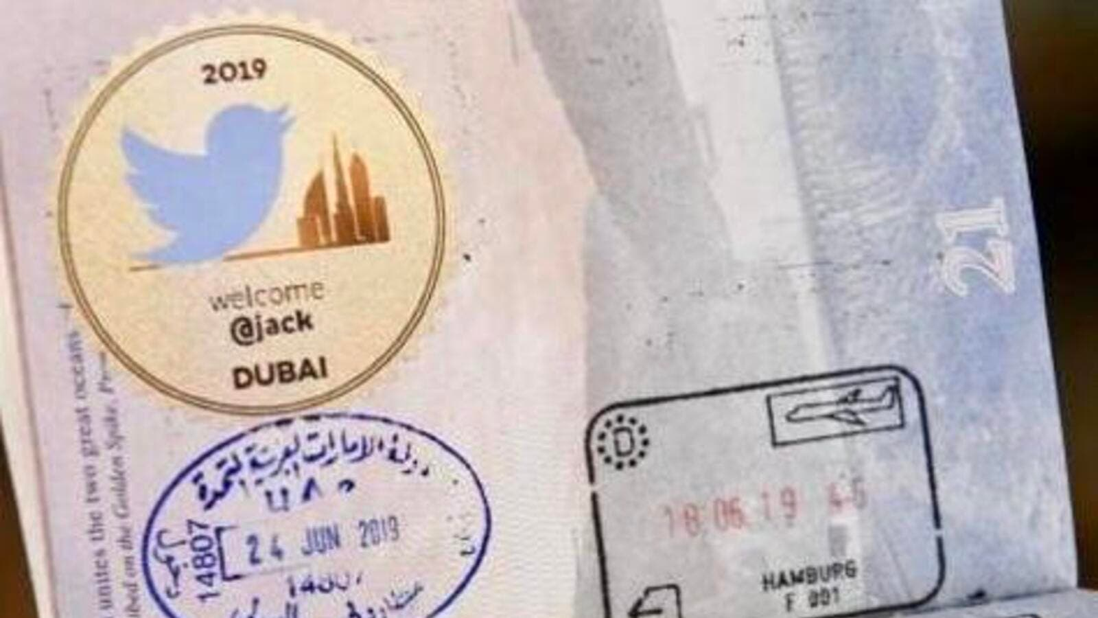 Jack tweeted a photo of the entry stamp he got upon arrival to Dubai which had a special welcome sticker with the iconic Twitter logo bird on it next to the Dubai skyline.
