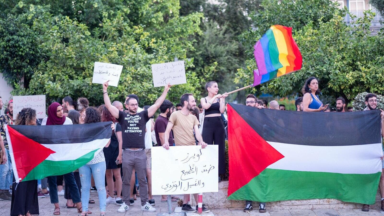 "Pro-Palestine LGBT+ supporters taking part of a protest in support of freedom, sexual diversity and against ""pinkwashing"". (@AlQaws/Twitter)"