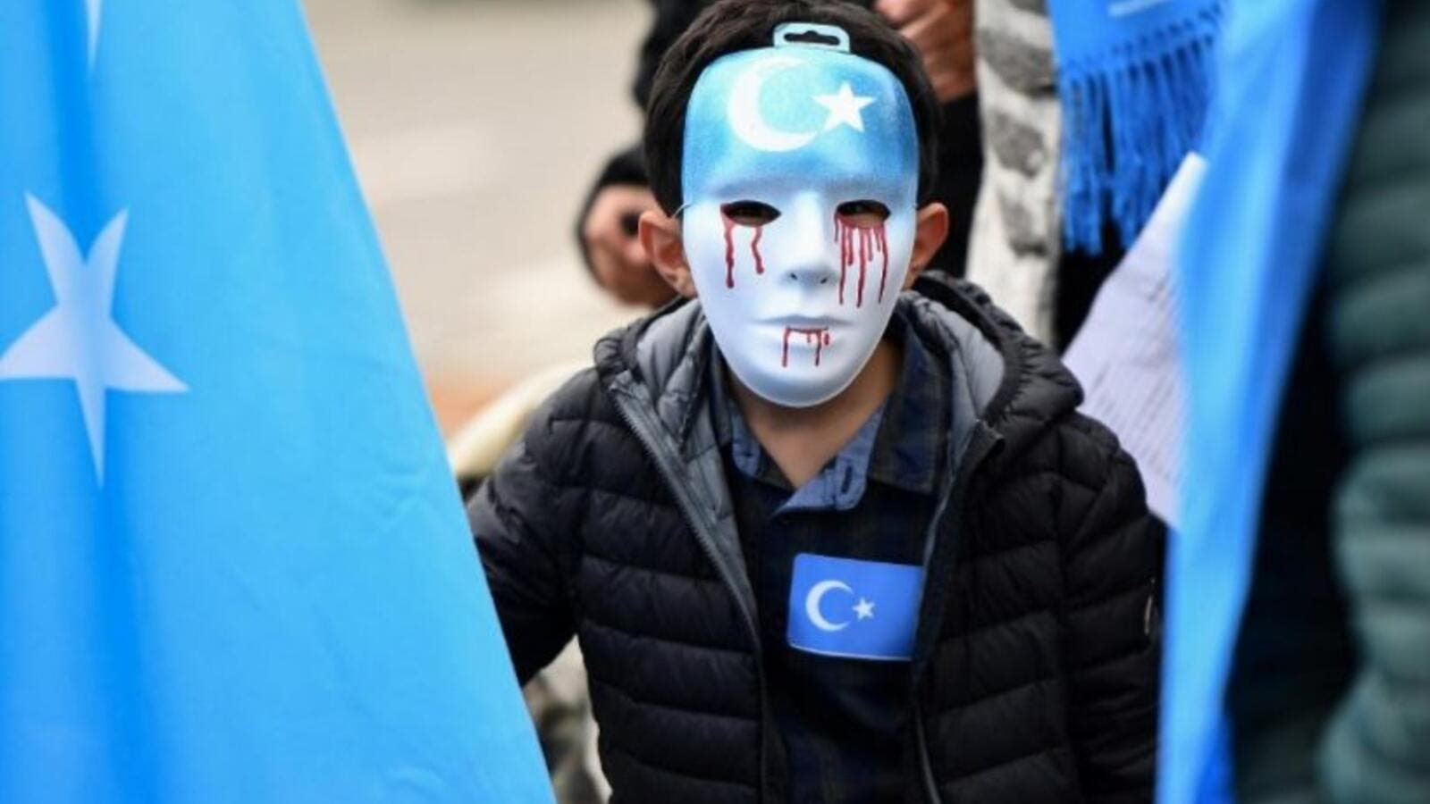 From a protest in Brussels against China's re-education camps for Uyghurs (FilePhoto/AFP)