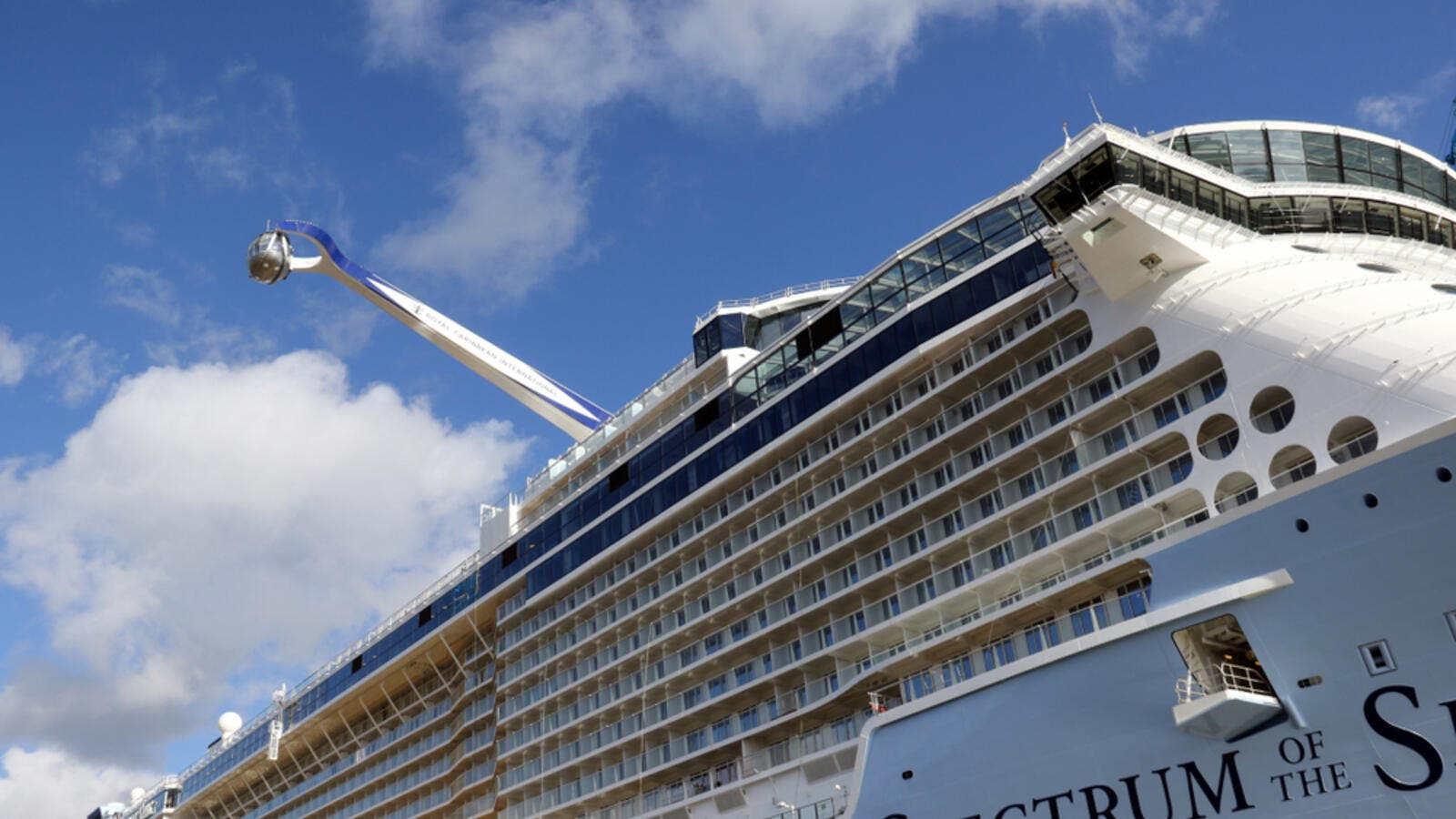 The Spectrum of the Seas crossed the canal from north to south during its maiden voyage.