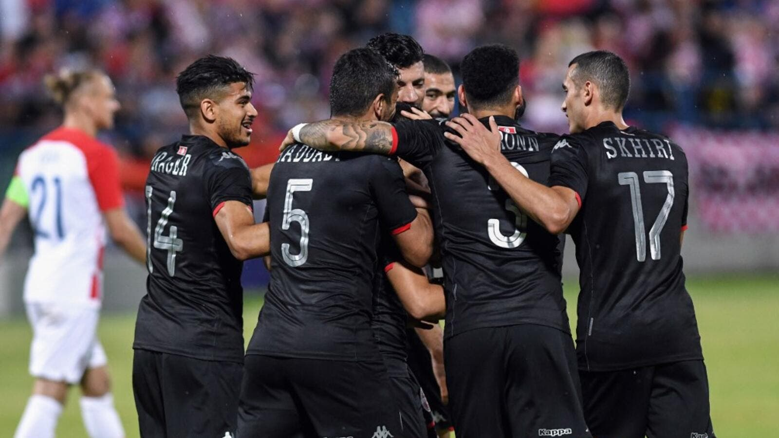 Tunisia's players celebrate after scoring a second goal during the 2019 international friendly football match between Croatia and Tunisia in Varazdin, on June 11, 2019. Denis LOVROVIC / AFP