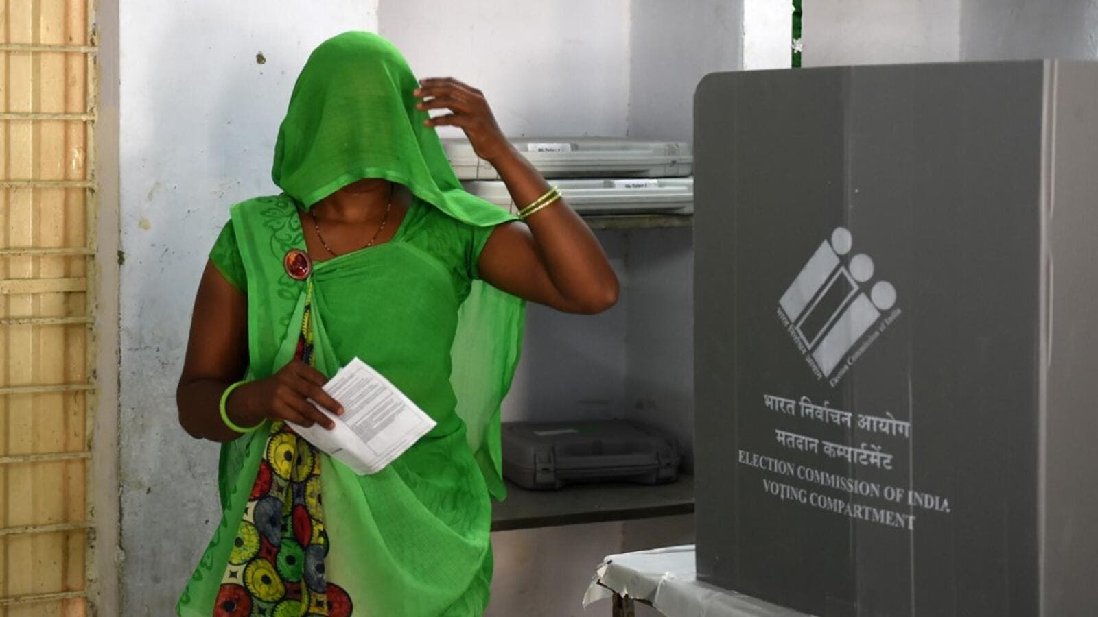 An Indian woman leaves after casting her vote during the third phase of general elections at a polling station in Ahmedabad on April 23, 2019. (AFP/ File)