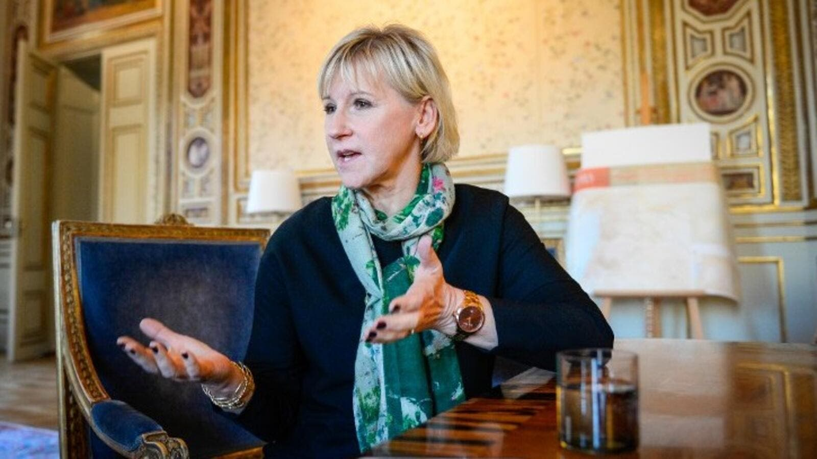Margot Wallstrom, Sweden's minister of foreign affairs, in her office in Stockholm, October 31, 2014 (AFP/Jonathan Nackstrand)