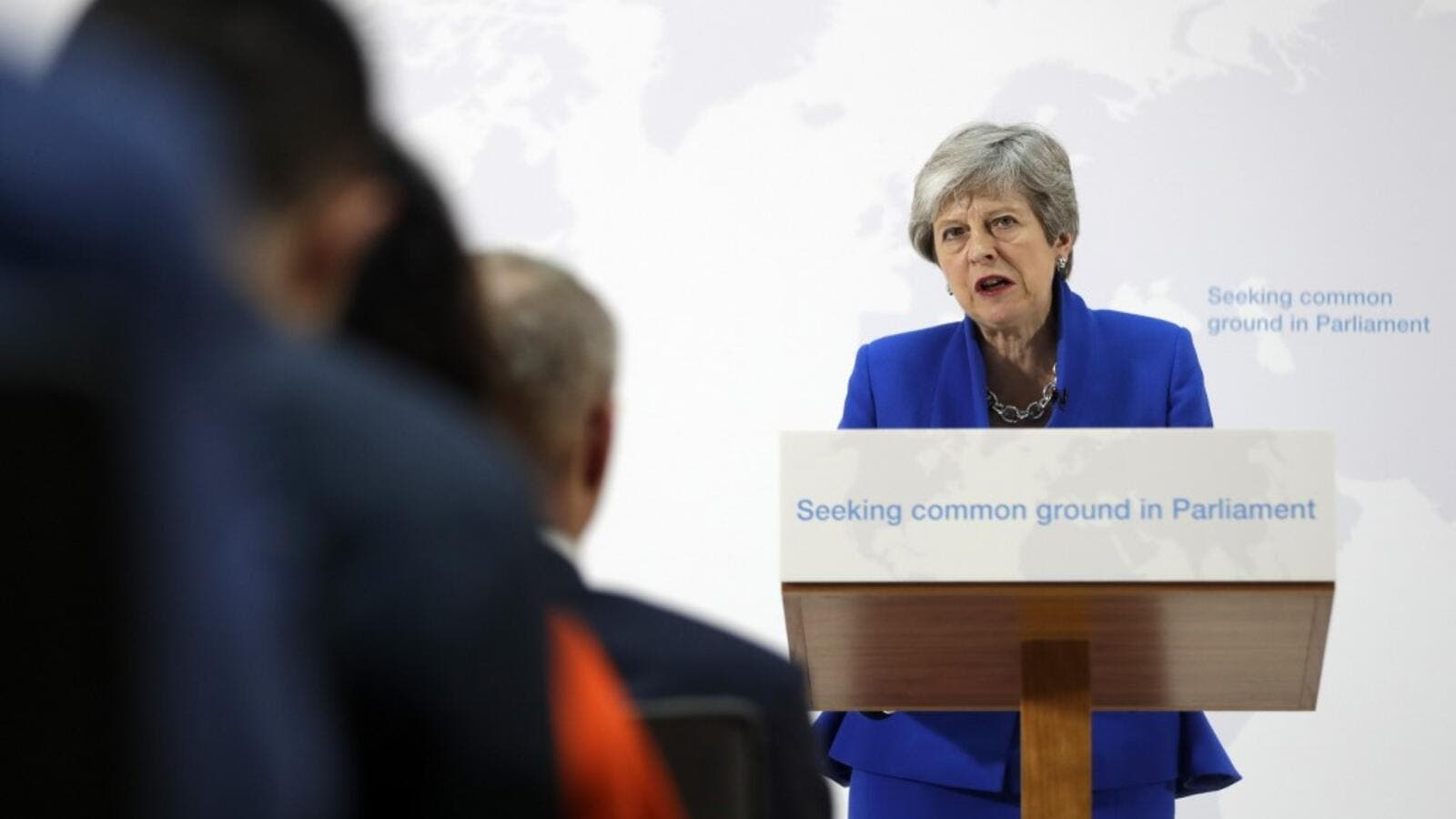 Britain's Prime Minister Theresa May delivers a keynote speech in central London on May 21, 2019. (Kirsty Wigglesworth / POOL / AFP)