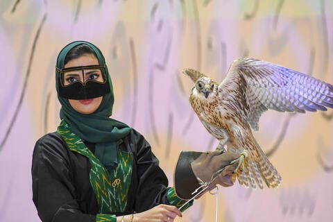 For The First Time! Saudi Woman Competes in Top Falconry Show
