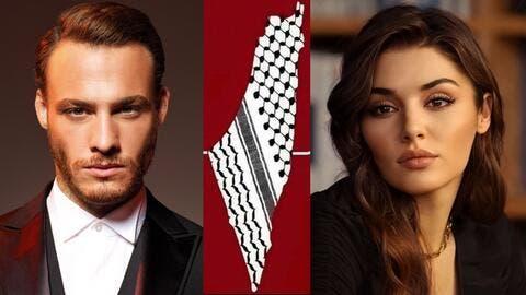 Kerem Bürsin and Hande Erçel Break Their Silence On Palestine.. Pictures