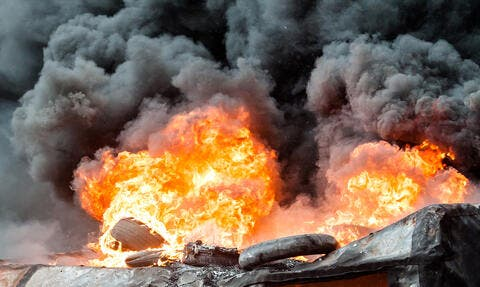Millions of Tires on Fire in Kuwait