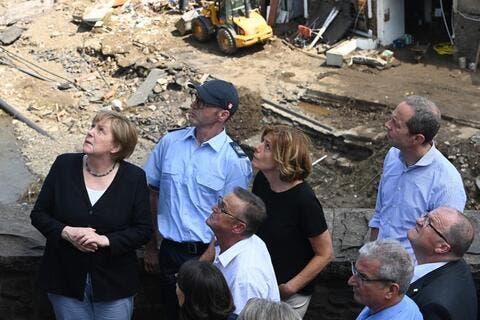 German Chancellor Merkel Visits Flood-stricken Region