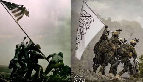 Taliban Fighters Mock US Iconic Iwo Jima Flag-raising Photo