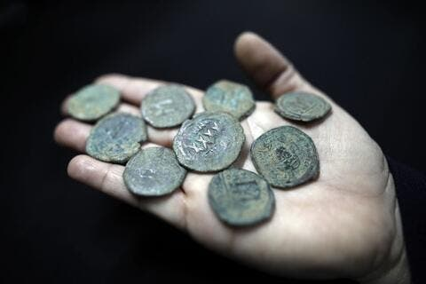 Ancient Byzantine coins unearthed during highway construction project in Israel